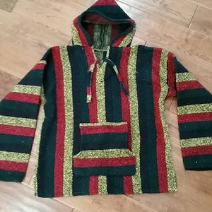 Baja hooded. Yellow green and red stripe